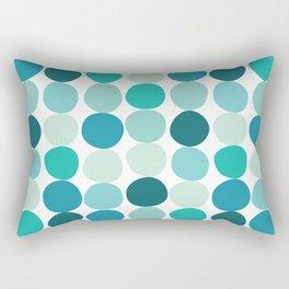Midcentury Modern Dots Blue Rectangular Pillow
