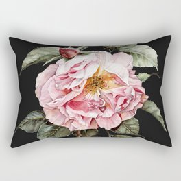 Wilting Pink Rose Watercolor on Charcoal Black Rectangular Pillow