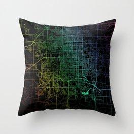 Springfield, MO, USA, City, Map, Rainbow, Map, Art, Print Throw Pillow