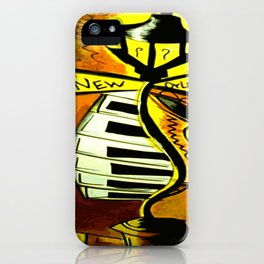 Black and gold New Orleans street lamp with piano keys iPhone Case