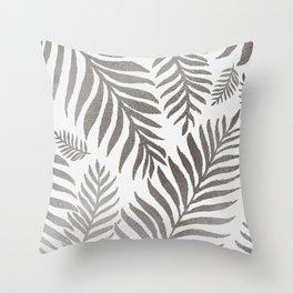 leaves-silver metallic Throw Pillow