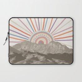 Bohemian Tribal Sun / Abstract Vintage Mountain Happy Summer Vibes Retro Colorful Pastel Sky Artwork Laptop Sleeve