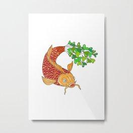 Koi Nishikigoi Carp Fish Microgreen Tail Drawing Metal Print