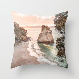 Sunset Beach, New Zealand Wall Art, Coastal Landscape, Pastel Wall Art, Boho Wall Art, Seaside Photo, Printable Art Throw Pillow