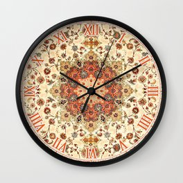 N71 - Orange Antique Heritage Traditional Moroccan Style Mandala Artwork Wall Clock