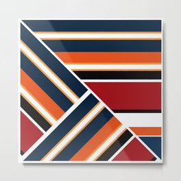 Retro . Combined stripes . Metal Print
