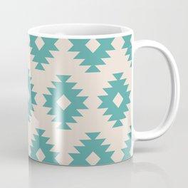 Southwestern Pattern 435 Beige and Turquoise Coffee Mug