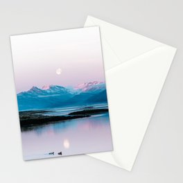 Ducks in front of a moonlit mountain at sunrise – Landscape Photography Stationery Cards