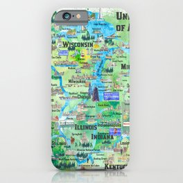 USA Midwest States Travel Map MN WI MI IA KY IL IN OH MO With_Highlights iPhone Case