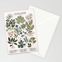Herbarium ~ vintage inspired botanical art print ~ white Stationery Cards