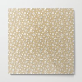 Festive Gold and White Christmas Holiday Snowflakes Metal Print