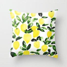 Summer Lemons Throw Pillow