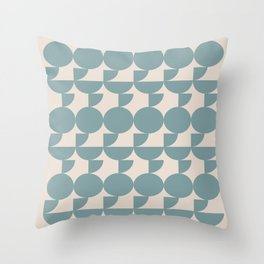 Mid Century Inspired Geometric Shapes in Soft Grey Blue Throw Pillow