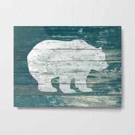 Rustic White Bear on Blue Wood Lodge Art A231b Metal Print