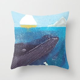 The Whale And The Yellow Sail Boat Throw Pillow