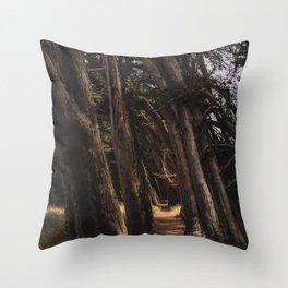 Sea Ranch Tree Tunnel Printable Wall Art   California Beach Nature Ocean Coastal Travel Photography Print Throw Pillow