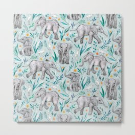 Baby Elephants and Egrets in Watercolor - egg shell blue Metal Print