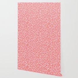 Coral Leopard Print - Living Coral design | Girly Pastel Cheetah Wallpaper
