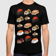 Sushi Persian Cat Black LARGE Mens Fitted Tee