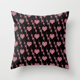 Festive background with sequined hearts on a black background. Throw Pillow