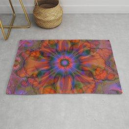 Sacred Geometry Art- Fractal Art- Delphinian- Orange Art- Flower- Energy Art- Purple Art Rug