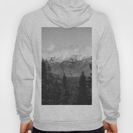 Snow Capped Sierras - Black and White Nature Photography Hoody