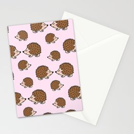 Cute little brown hedgehogs in pink love Stationery Cards