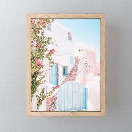 Santorini Greece Mamma Mia Pink House Travel Photography in hd. Framed Mini Art Print