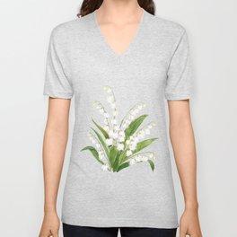 white lily of valley Unisex V-Neck