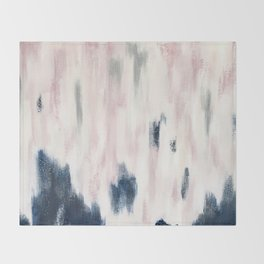 Blush Pink and Blue Pretty Abstract Throw Blanket