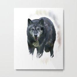 Timber Wolf watercolor painting Metal Print