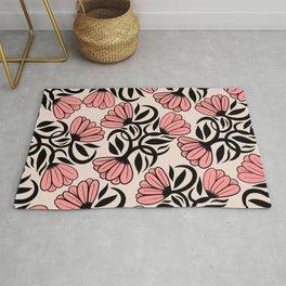 Modern Girly Mauve Pink Black Floral Illustrations Rug