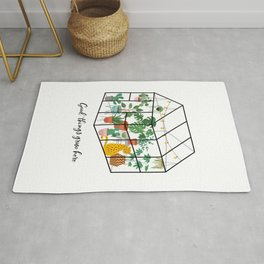Good Things Grow Here Illustrated Quote Rug