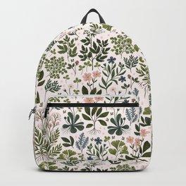 Herbarium ~ vintage inspired botanical art print ~ white Backpack