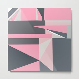 Modern hot pink gray abstract shapes pattern Metal Print