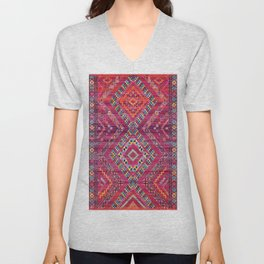 N118 - Pink Colored Oriental Traditional Bohemian Moroccan Artwork. Unisex V-Neck