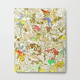 Kamasutra LOVE - Retro Yellow Metal Print