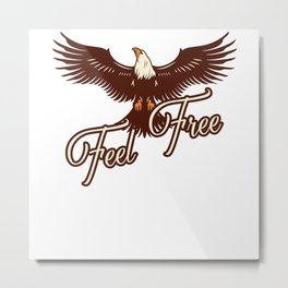 Eagle Illustration Feel Free Metal Print