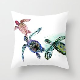 Sea Turtle Family, family art Throw Pillow