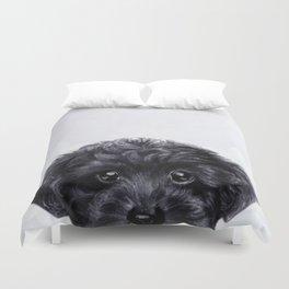 Toy poodle Black Duvet Cover