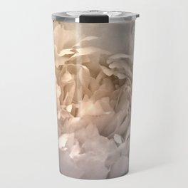 Blushing Silver and Gold Peony - Floral Travel Mug