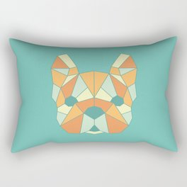 Geo Frenchie - Teal & Orange Rectangular Pillow