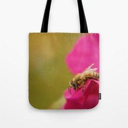 Bee on Pink Rose Tote Bag