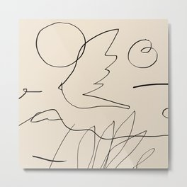 Abstraction_NEW_BIRD_DOODLE_POP_ART_Minimalism_001D Metal Print
