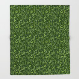 Woodland walk - dark acid green Throw Blanket