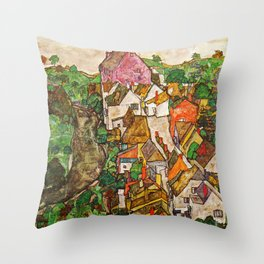 Egon Schiele - Landscape at Krumau 1916 Throw Pillow