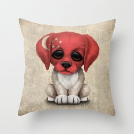 Cute Puppy Dog with flag of Singapore Throw Pillow