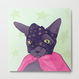 Superhero Cat - Starlord Kitty Wearing a Mask Metal Print