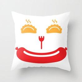 Pierogi Kielbasa Polish Food Funny Smiling Sausage Face Gift design Throw Pillow