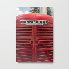 Vintage Farmall M Grill Antique Red Tractor Metal Print